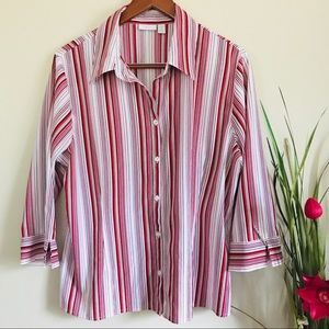 Apt.9 Women's Stretch Striped Buttons Down Shirt